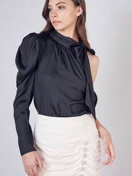 ONE SHOULDER TIE NECK TOP