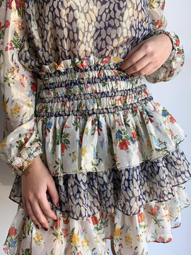 FLORAL PRINT SMOCKED WAIST SHORT SKIRT