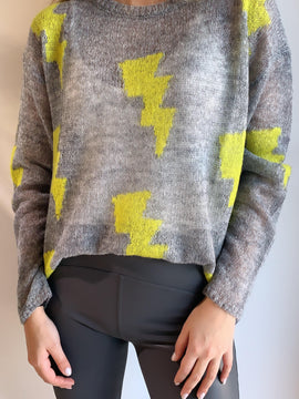 GREY LIME LIGHTING BOLT SWEATER