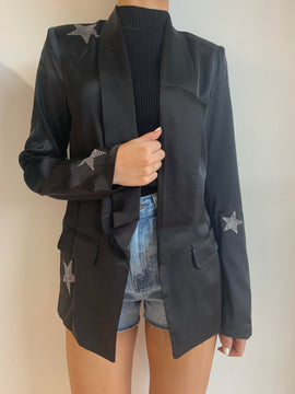 SILK BLAZER WITH SILVER STARS