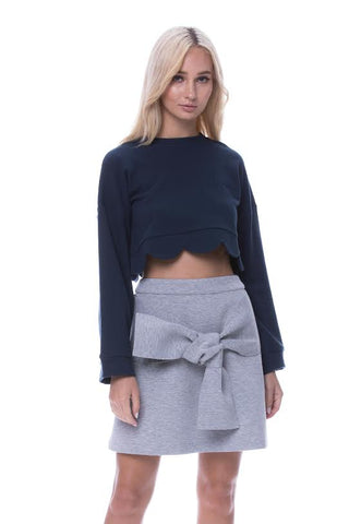GREY SKIRT WITH TIE FRONT