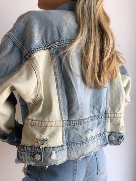 DRAWSTRING WAIST DISTRESSED JACKET