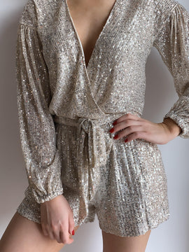 SLEEVE SEQUIN ROMPER