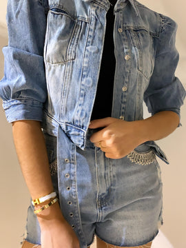 PUFF SLEEVE DENIM JACKET WITH BELT