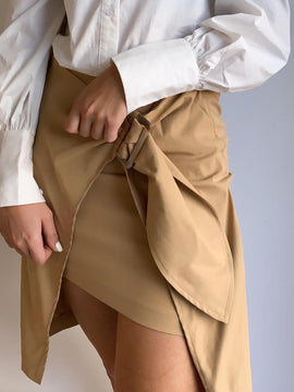 FRONT TIE WOVEN SKIRT