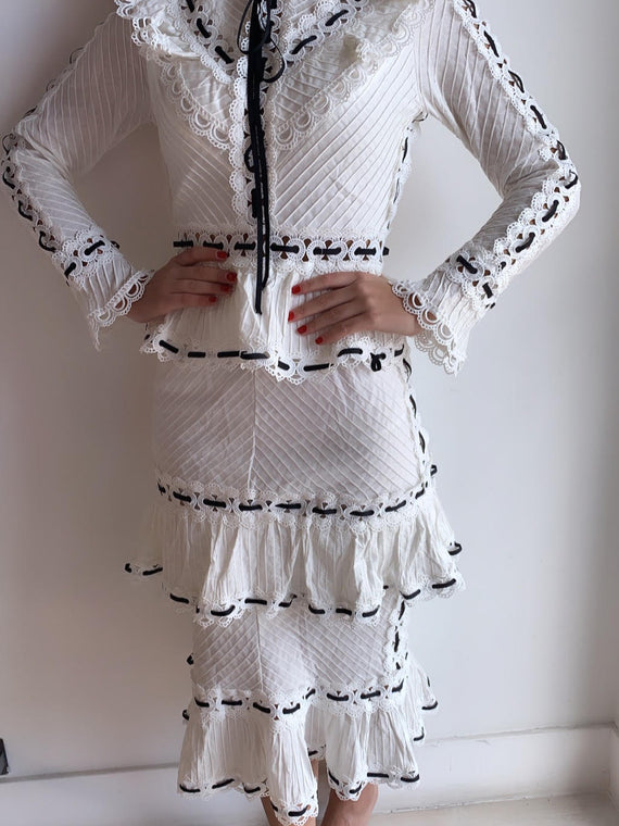 White and Black Lace Maxi Dress