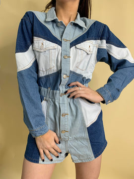 DENIM BLOCK LONG SLEEVE ROMPER