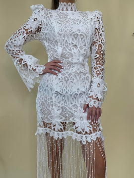 Puff Sleeve Fringe Lace Dress