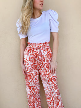 RED AND WHITE PAPER BAG PANTS