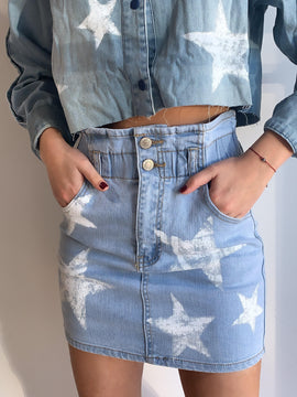 DENIM ELASTIC WAIST SKIRT