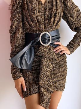 BEIGE BELTED MINI DRESS