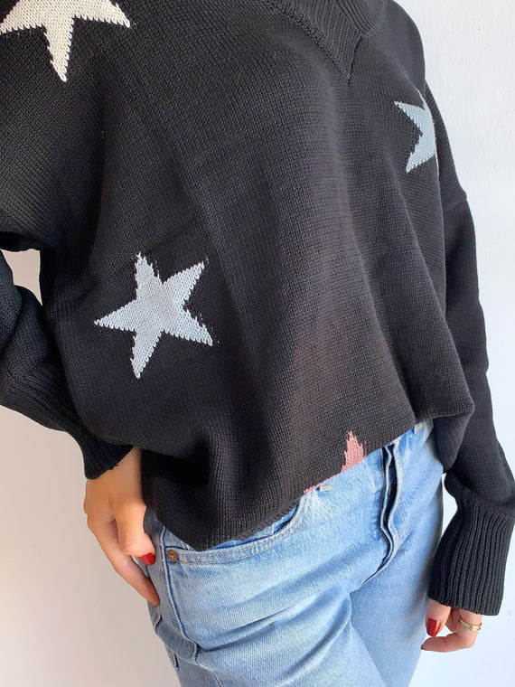 BLACK V-NECK STARS SWEATER