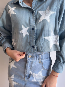 DENIM STAR PRINT TOP