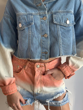 TIE DYE PRINTED FRAYED DENIM JACKET