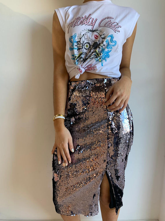 CHARCOAL SEQUINED SKIRT