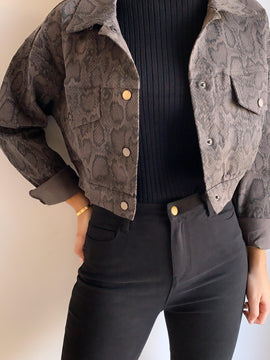 GREY SNAKE CROPPED JACKET