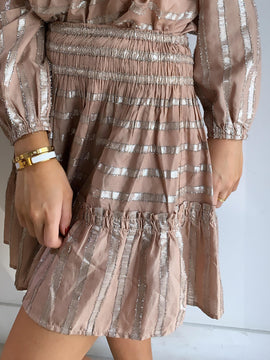 DUSTY ROSE METALLIC STRIPE SKIRT