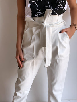 WHITE BELTED LEATHER PANTS