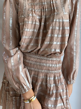 DUSTY ROSE METALLIC STRIPE TOP