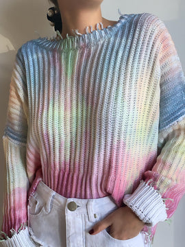 TIE DYE MULTICOLOR DISTRESSED SWEATER