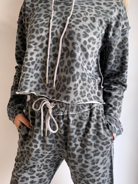 GREY LEOPARD JOGGER PANTS
