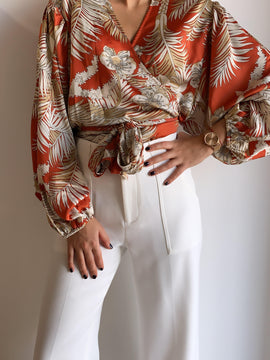 LONG SLEEVE BELTED WRAP TOP