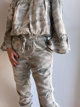 CAMO PRINT WASHED CARGO PANTS