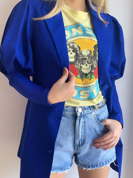 ROYAL BLUE PUFF SLEEVE BLAZER