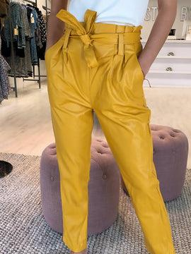 MUSTARD HIGH WAIST LEATHER PANTS