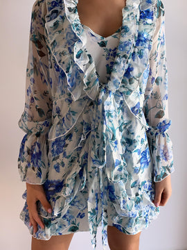 FLORAL BLUE RUFFLED CHIFFON DRESS
