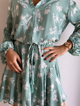 LONG SLEEVE RUFFLED MIDI DRESS