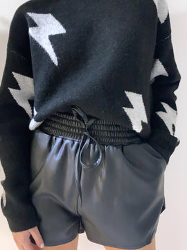 BLACK & GREY MULTI LIGHTING BOLT SWEATER