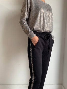 SIDE SEQUIN STRIPE SWEATS