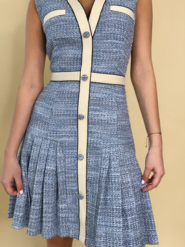 BABY BLUE TWEED SLEEVELESS DRESS
