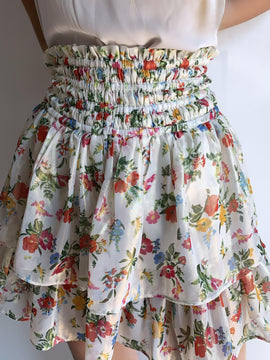 FLORAL PRINT SMOCKED WAIST TIERED SHORT SKIRT