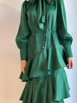 SILKY GREEN MAXI DRESS