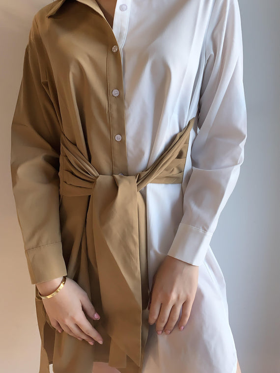 COLOR BLOCK WAIST BELT SHIRT DRESS