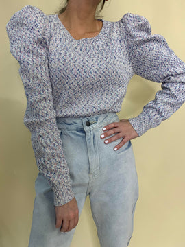 MIXED COLOR PUFF SLEEVE SWEATER FINAL SALE