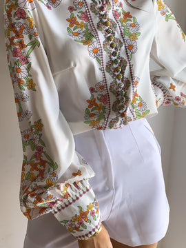 FLOWER PRINT BUTTON DOWN SHIRT
