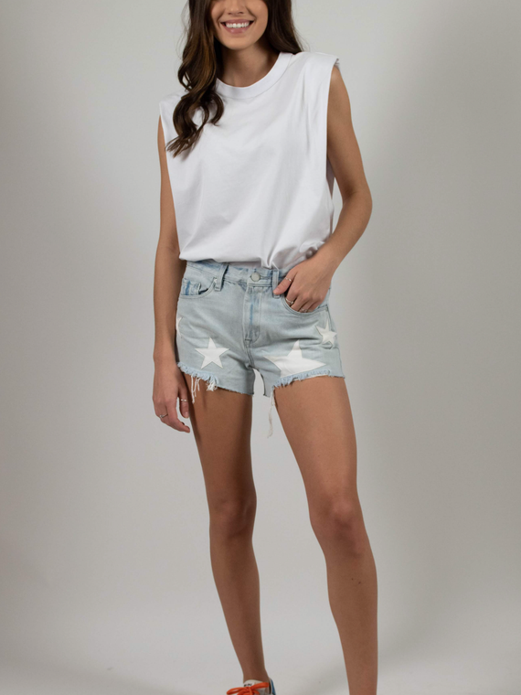 STAR DENIM SHORTS BLANK NYC