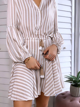 BEIGE STRIPE RUFFLE DRESS FINAL SALE