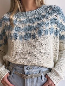 IVORY & BLUE TIE DYE RIPPED SWEATER