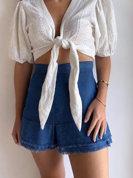 DENIM FLOWY SHORTS