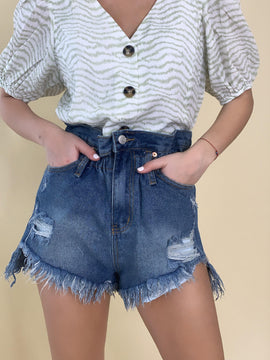 DESTROYED PAPER BAG DENIM SHORTS