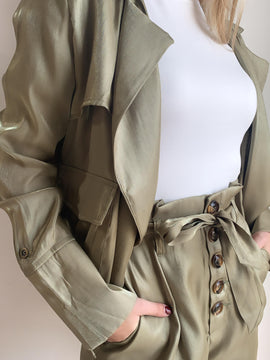 OPEN DRAPED CARGO POCKET JACKET