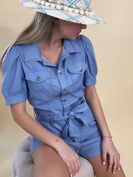 BUTTOM-UP PUFF SLEEVE ROMPER FINAL SALE