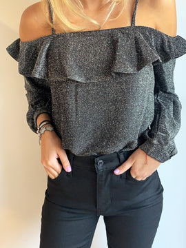 SHIMMERING LIGHT COLD SHOULDER TOP