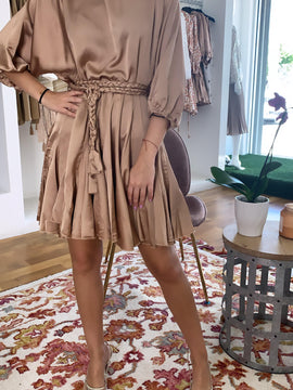 NUDE GOLD RUFFLED MIDI DRESS