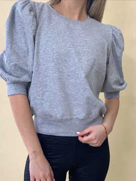 PUFF SLEEVE GREY SWEATER