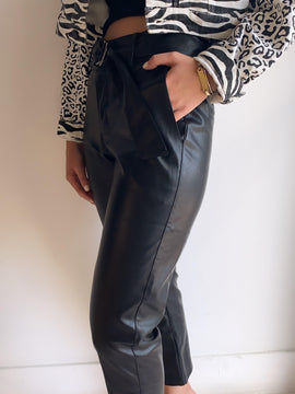 BELTED LEATHER TROUSERS
